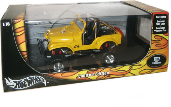 jeep wrangler cj 5 modified yellow hot wheels 1 18. Black Bedroom Furniture Sets. Home Design Ideas